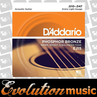 DADDARIO EJ15 Acoustic Guitar String Set 10-47 Phospher Bronze Extra Light
