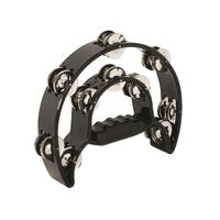 MANO TMP13B Double 1/2 Moon Tambourine with 10 Pairs Double Row of Jingles in Black