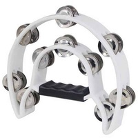 MANO Double 1/2 Moon Tambourine 10 Pairs Double Row White
