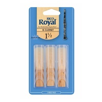 RICO ROYAL B Flat Clarinet Reed 1.5 3 Pack
