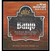 GHS PF145 STAINLESS Banjo 5 String Set 10-22 Stainless Steel Loop End Medium Light