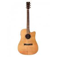 TASMAN TA100-CE Acoustic/Electric Guitar with Cutaway, Solid Spruce Top in Natural with Case