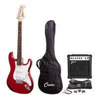 CASINO Strat-Style Electric Guitar and 15-Watt Amp Pack in Transparent Wine Red CP-E1-TWR