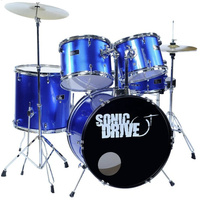 SONIC DRIVE SJD-45-MBL MIDDY 5 Piece Drum Kit in Metallic Blue with 16 Inch Bass Drum