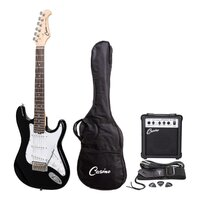 CASINO 6 String Strat-Style Short Scale Electric Guitar and Amp Pack in Black CP-SST-BLK