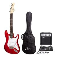 CASINO 6 String Strat-Style Short Scale Electric Guitar and Amp Pack in Candy Apple Red CP-SST-CAR
