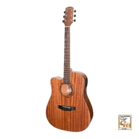 MARTINEZ NATURAL SERIES 6 String Left Hand Acoustic/Electric Guitar with Mahogany Top MNDC-15L-MOP