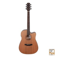 MARTINEZ NATURAL SERIES 6 String Acoustic/Electric Cutaway Guitar Solid Top Cedar MNDC-15S-COP