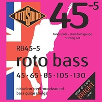 ROTOSOUND RB455 ROTO BASS 5 String Bass Guitar Set 45-130 Nickel on Steel Roundwound Standard