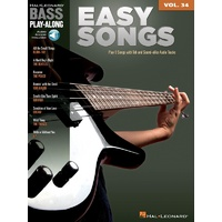 EASY SONGS Bass Playalong Book with Audio Online Access & TAB Volume 34