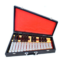 PERCUSSION PLUS 25 Note Metallophone with Black Keys comes with 2 Mallets and Case