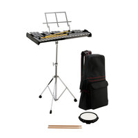 OPUS PERCUSSION Bell Kit with 32-Note Glockenspiel, Stand, Mallets, Sticks, Practice Pad and Carry Bag
