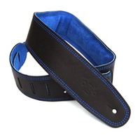 DSL 2.5 Inch Padded Suede Strap in Black/Blue with Blue Stitch