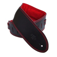 DSL 3.5 Inch Padded Suede Strap in Black/Red with Red Stitch GES35-15-6