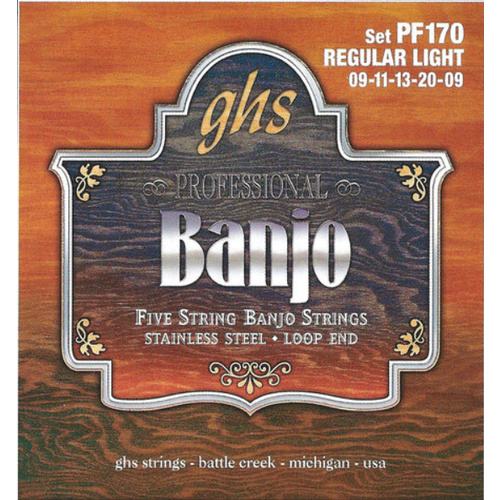 GHS PF170 STAINLESS Banjo 5 String Set 09-20 Stainless Steel Loop End Regular Light