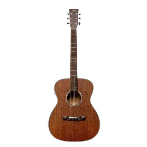TASMAN TA150O-E OM 6 String Acoustic/Electric Guitar, Solid Mahogany Soundboard in Mahogany with Case 503985