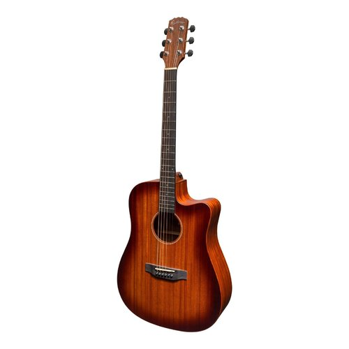 MARTINEZ SOUTHERN STAR SERIES 6 String Dreadnought Acoustic/Electric Guitar, Cutaway, Saturn Sunburst, Case MPC-6C-NST