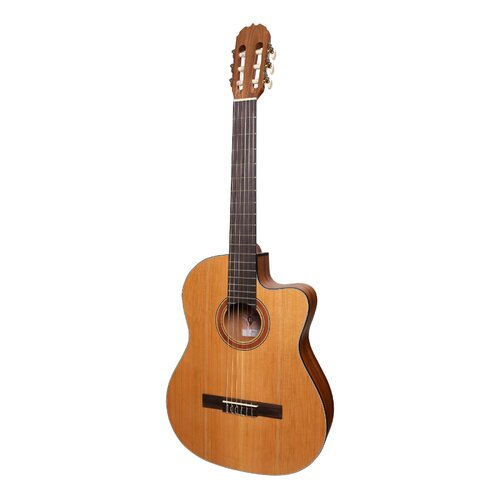 MARTINEZ NATURAL SERIES 6 String Classical/Electric Guitar with Cutaway, Solid Spruce Top, Open Pore MNCC-15S-COP