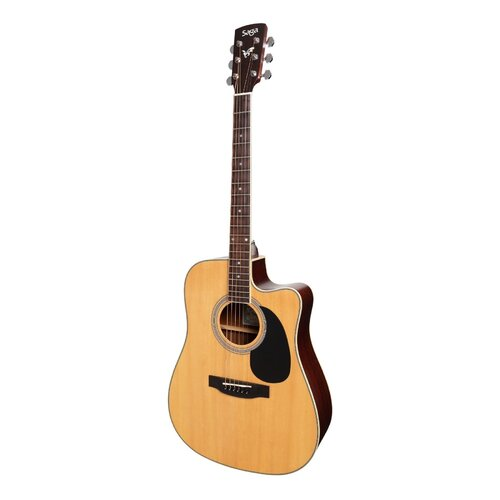 SAGA 700 Series Acoustic/Electric Dreadnought Guitar with Cutaway, Solid Spruce Top and Gig Bag SF700C