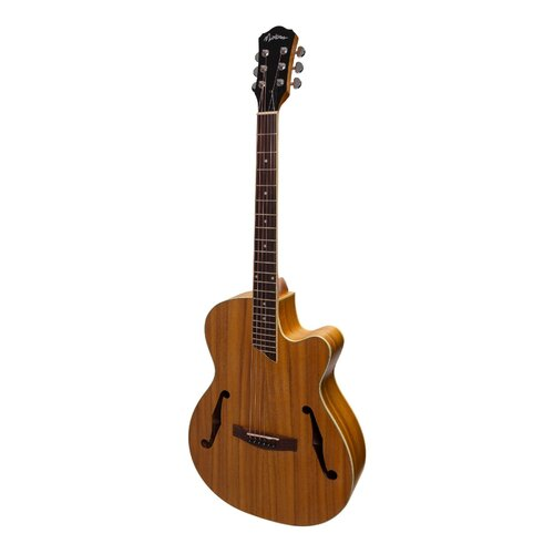MARTINEZ 6 String Jazz Hybrid Acoustic/Electric Small Body Guitar with Cutaway in Koa MJH-3CP-KOA
