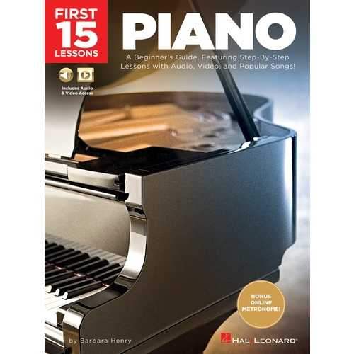 First 15 Lessons For Piano Book and Online Media